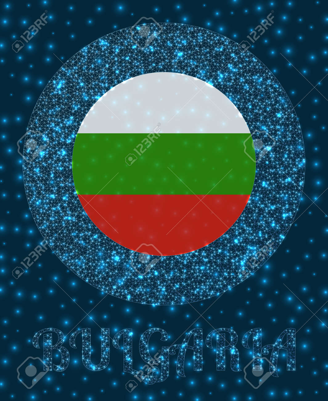Round Bulgaria badge. Flag of Bulgaria in glowing network mesh style. Country network logo. Appealing vector illustration. - 158518617