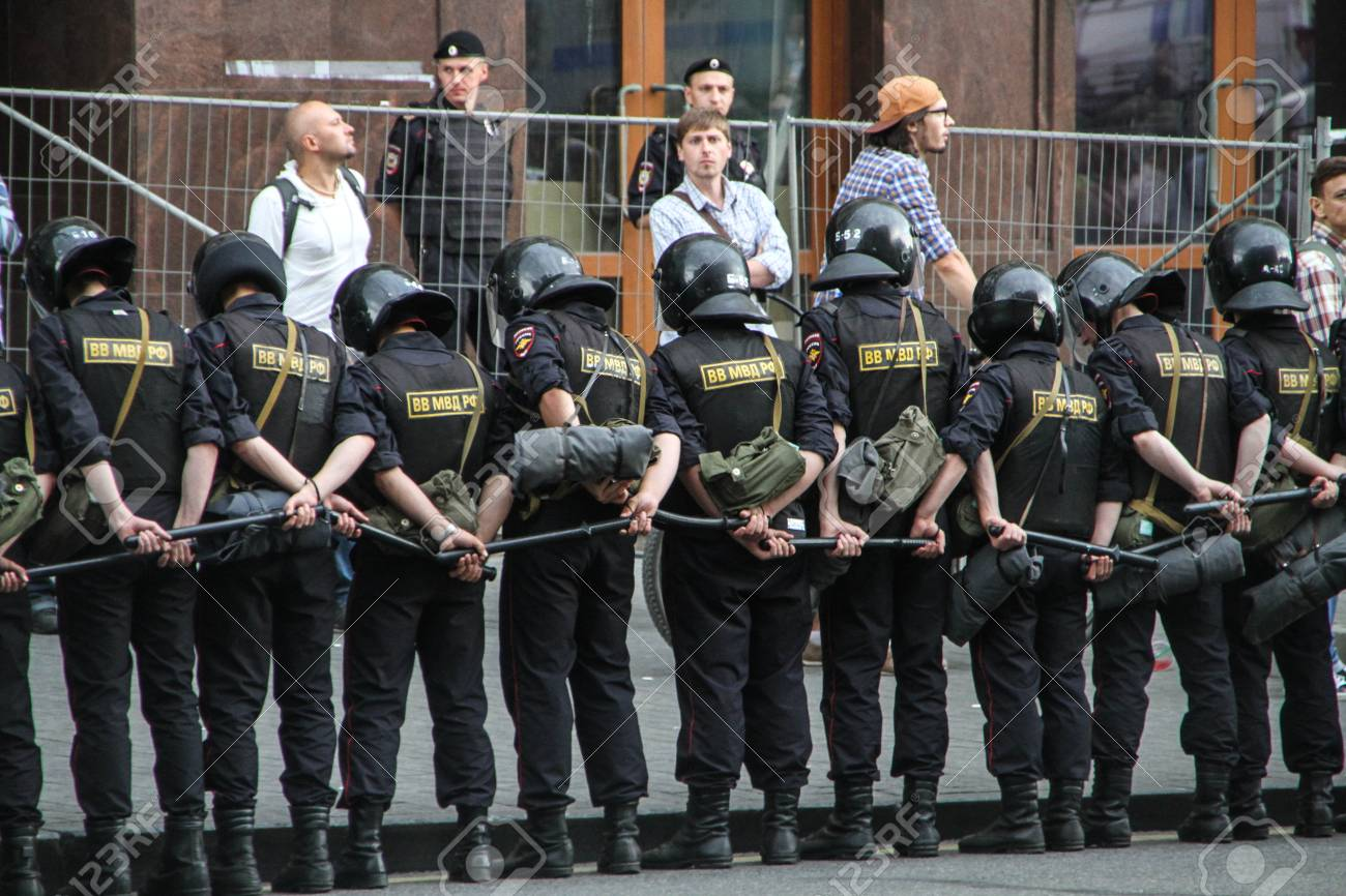 Moscow, Russia - July 18, 2013  Russian police during the opposition