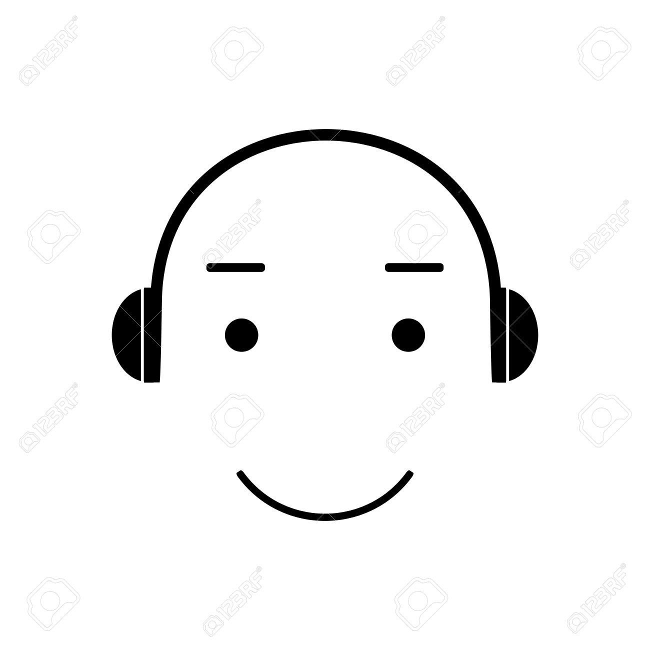 Visage Emoji Melomane Ecoute De La Musique Avec Un Casque Emoticones Illustration Vectorielle Musique Icone Vecteur De Musique Banque D Images Et Photos Libres De Droits Image 55126644