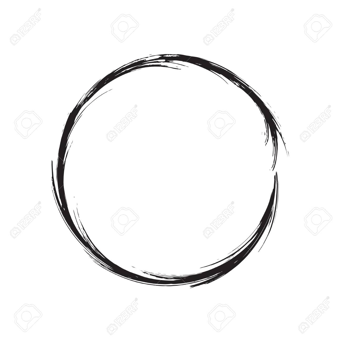 circle shape vector black grunge background. Vintage old round. A circular  trail mark.