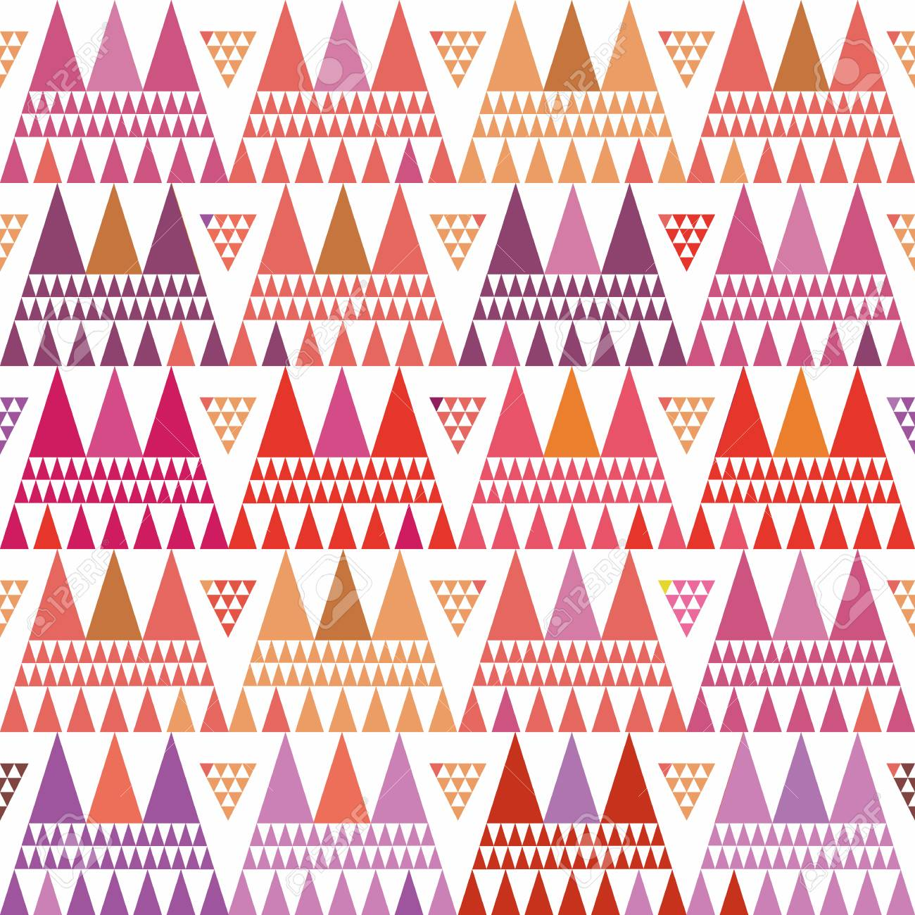 Fresh pink, purple and orange boho style triangle clusters. Repeat vector pattern on white background with summer vibe. Great for wellbeing, yoga, beauty products, gift wrap, stationery, packaging - 118131915