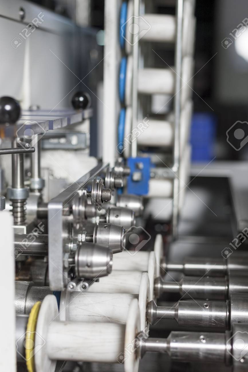 Close Up Shot Of An Electrical Wire Production Machine Stock Photo ...
