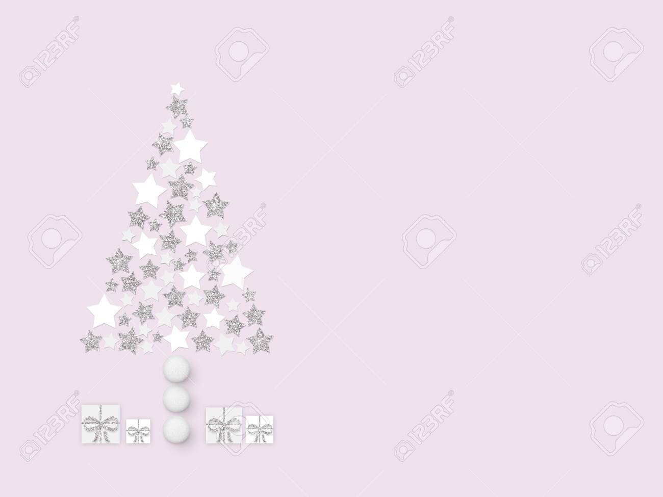 3456fab251ca Christmas tree from white, beige and silver stars; presents, decorative  balls, pink