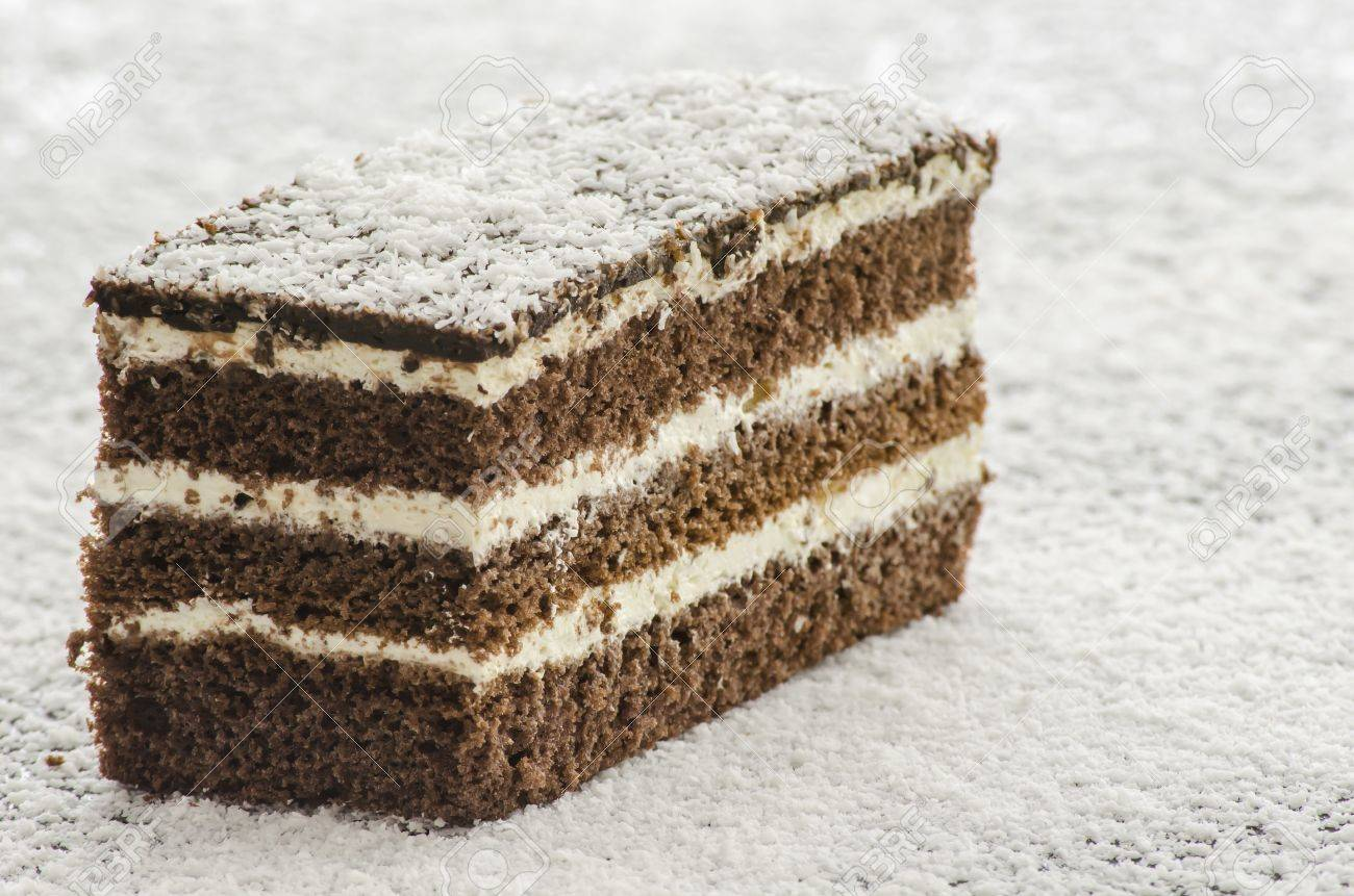 Dellicious cake on shredded coconut flakes Stock Photo - 16607315