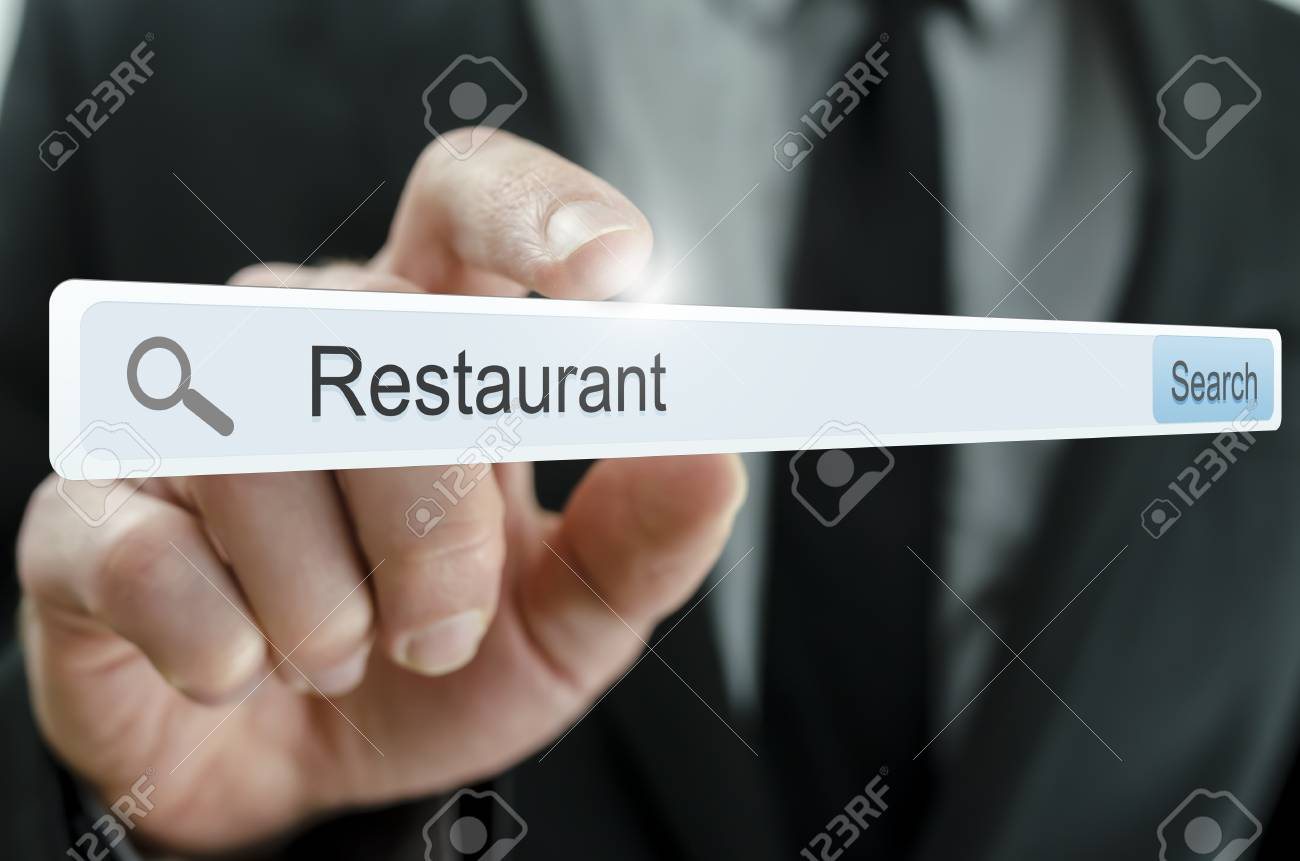 Word Restaurant written in search bar on virtual screen. Stock Photo - 20343261