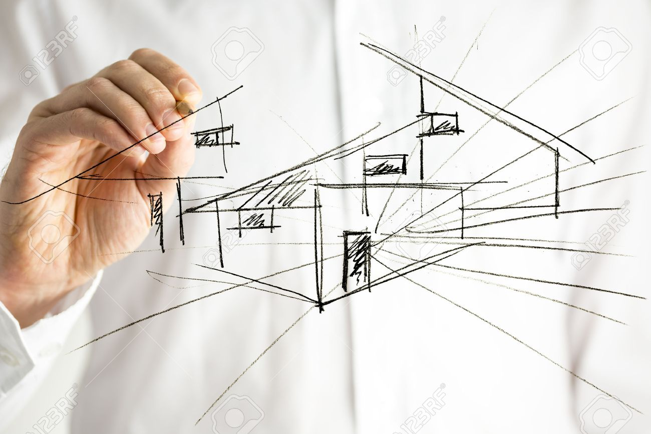 Architect Drawing Architectural House Plan On Virtual Screen. Stock Photo,  Picture And Royalty Free Image. Image 24459819.