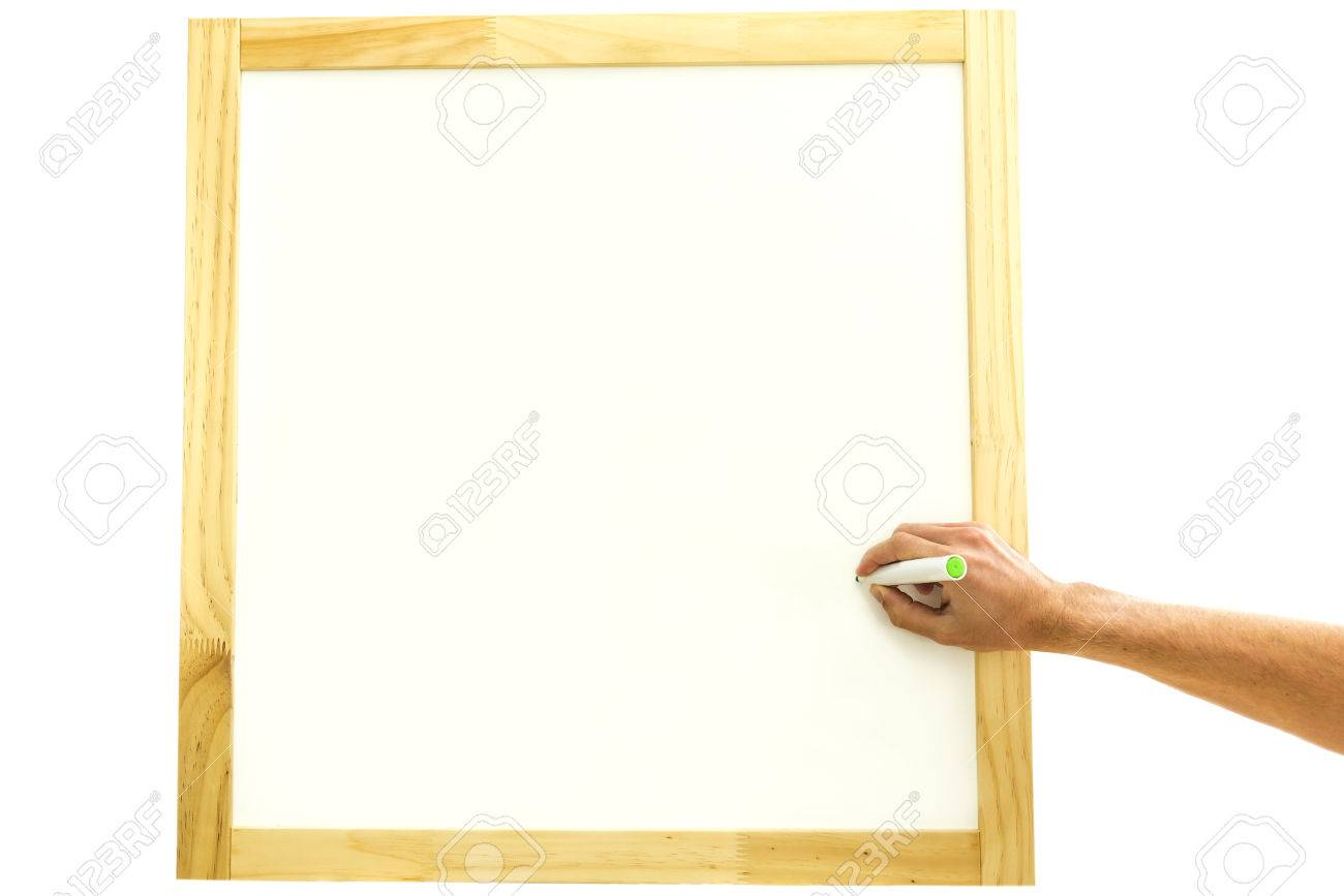 Hand Of A Man Holding A Marker Pen Writing Inside A Square Wooden ...