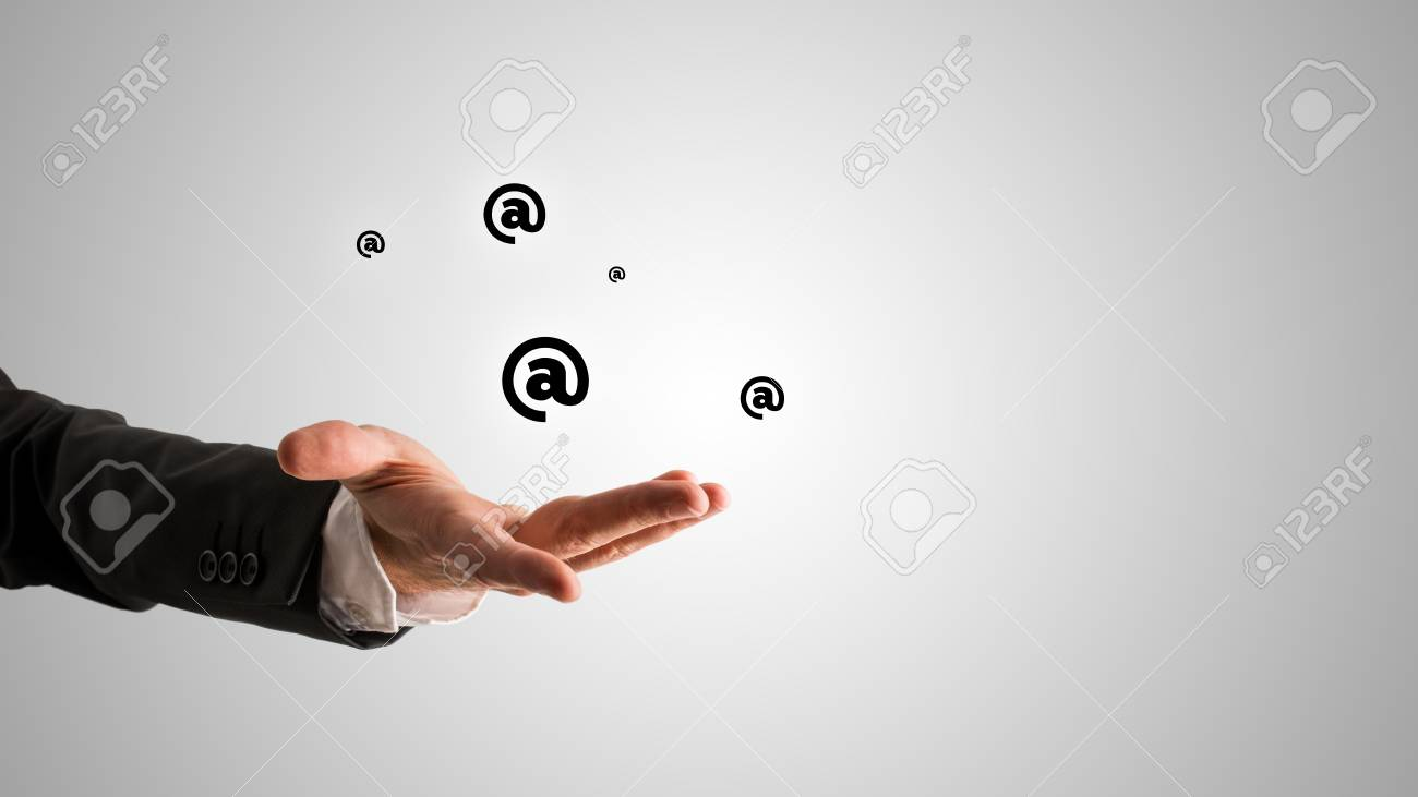 Conceptual One Open Businessman Hand With Symbols Or At Signs