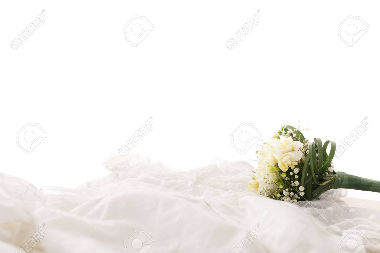 Side Profile View Of Bridal Bouquet Or Corsage Of White Flowers