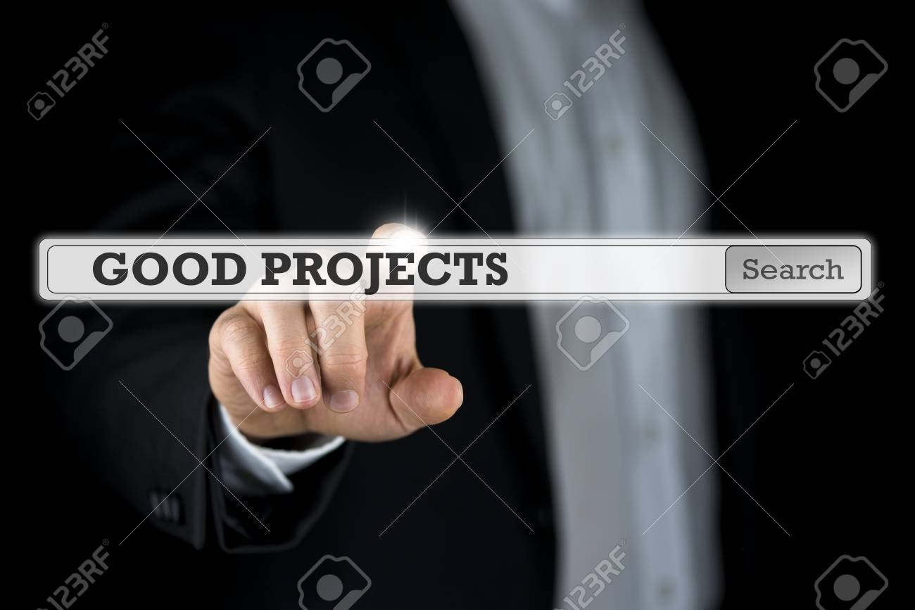 Businessman pushing Good projects search bar on a virtual computer screen or interface. - 43136970
