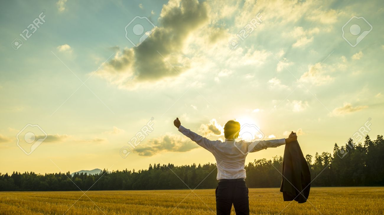 Young ambitious executive enjoying and celebrating his business success as he stands in beautiful nature under majestic sky with his arms spread widely holding his thumbs up. - 44162091