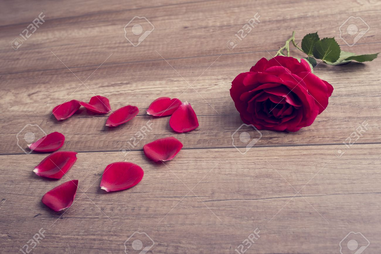 Romantic red rose and heart formed of loose petals lying on a wooden table symbolic of love, romance, Valentines Day and an anniversary, with a retro filter effect. Stock Photo - 47255112