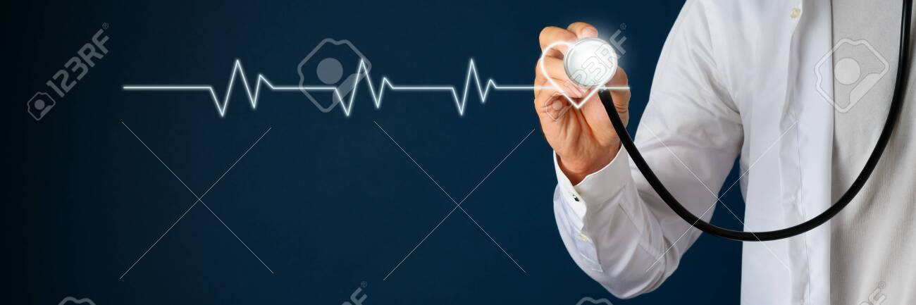 Cardiogram linked to a heart shape on navy blue background with a doctor holding stethoscope next to it. - 129949195