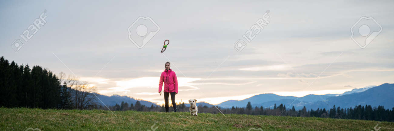 Wide view image of young woman throwing a toy for his pet dog outside in beautiful meadow. - 169239385