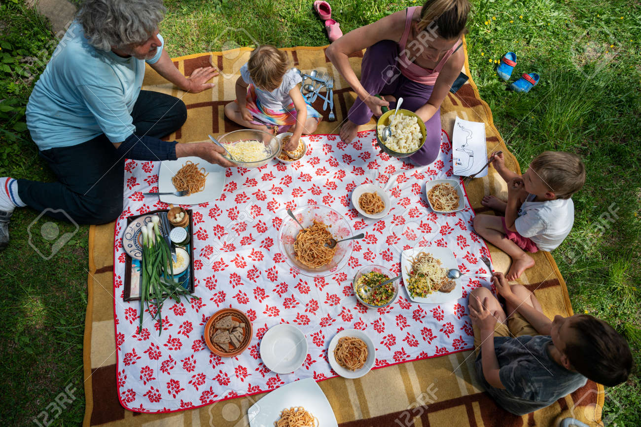 Top view of a family having a picnic in nature sitting on a blanket full of delicious food and snacks. - 171809524