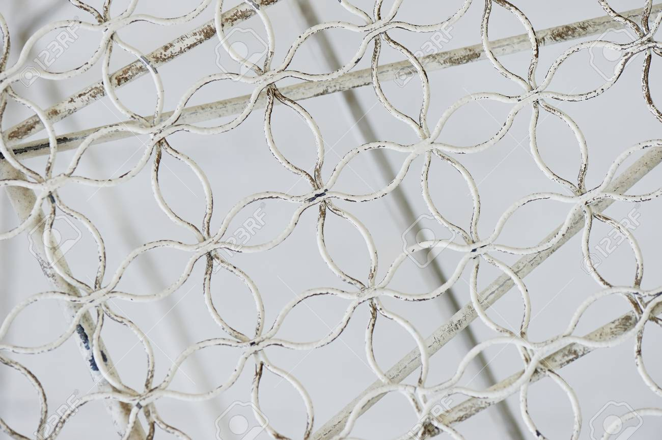 Metallic Light White Fishnet Mesh Wire. Texture Stock Photo, Picture ...