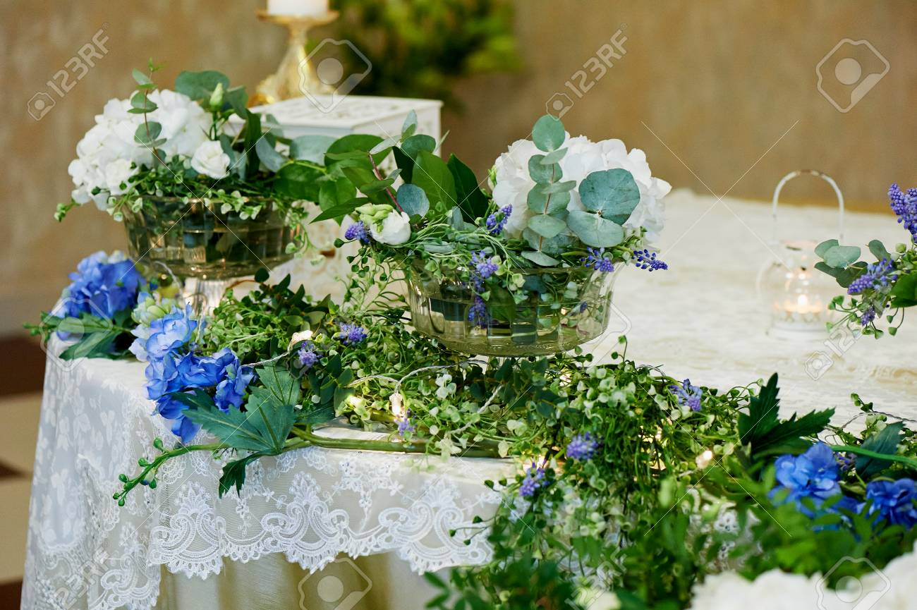 Stock Photo   Wedding Table Decoration White And Blue Hydrangeas. Floral