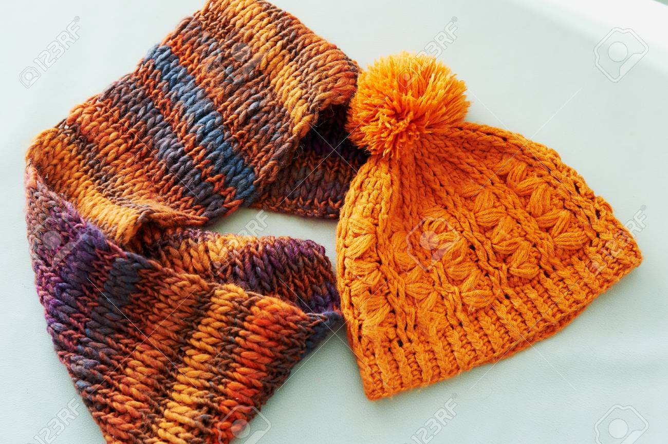 Cozy Crochet Kit In Orange. Scarf And Hat With Pompom, Chunky ...