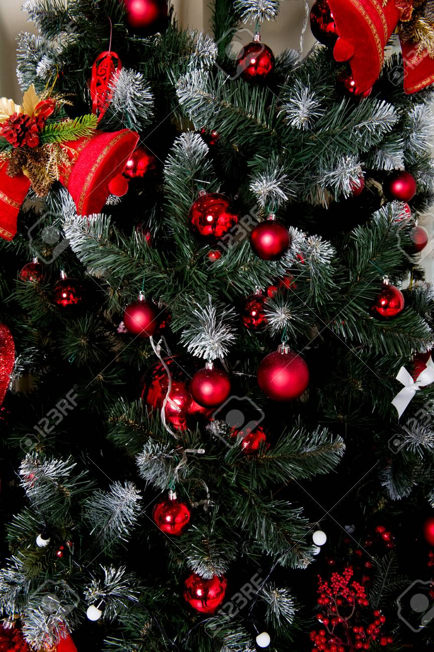 Closeup Of Christmas Tree Decorations Red Color Of Balls Stock Photo Picture And Royalty Free Image Image 69067916
