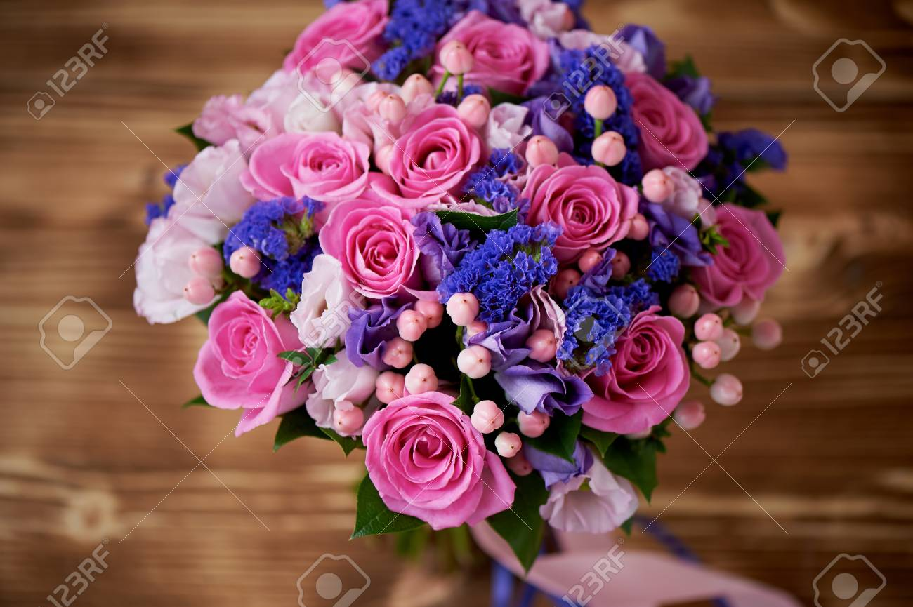 Wedding Bouquet In Pink And Purple Tones. Beautiful And Delicate ...