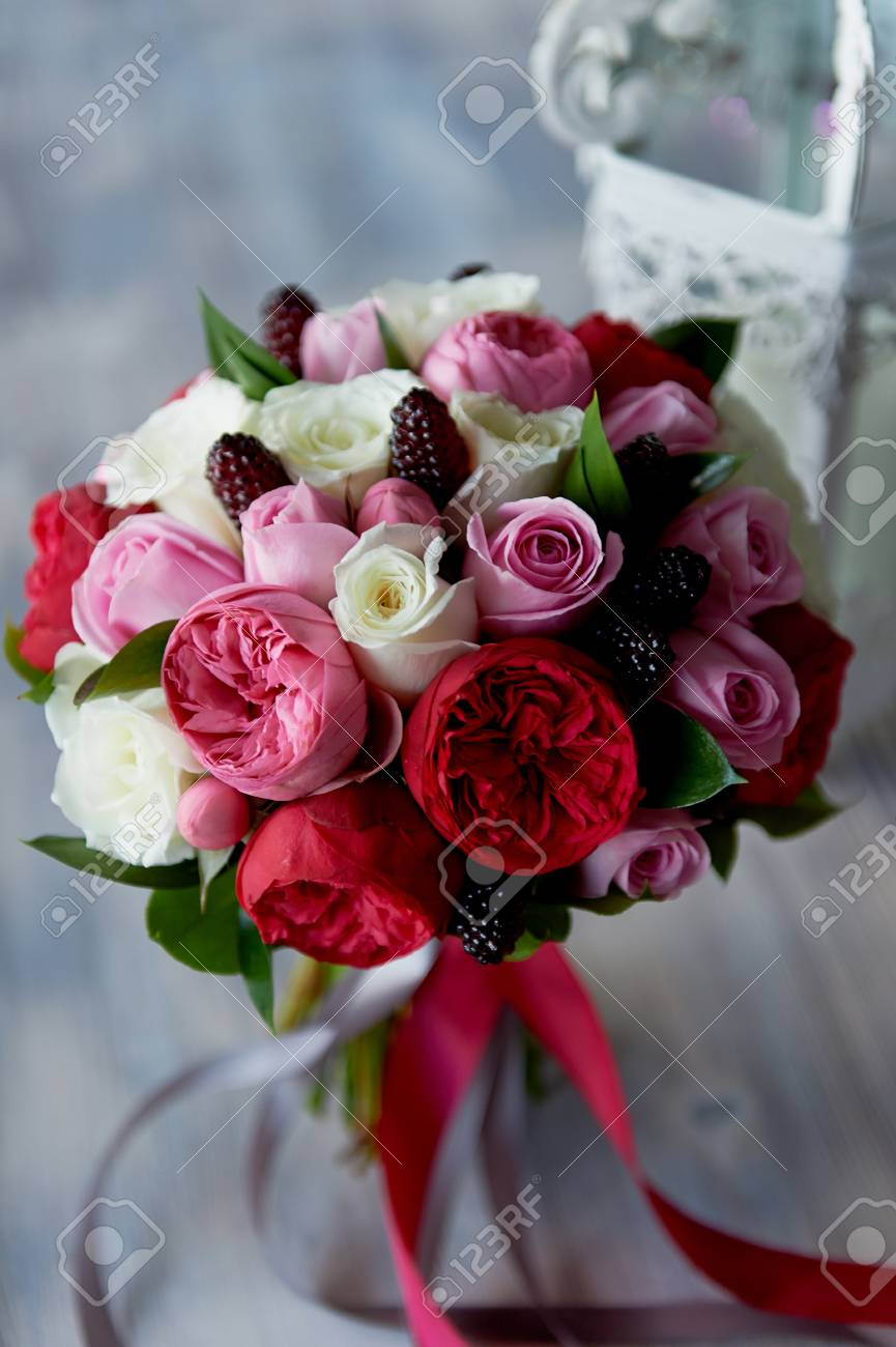 Wedding Bridal Bouquet In Red Pink White Wedding Flowers Stock