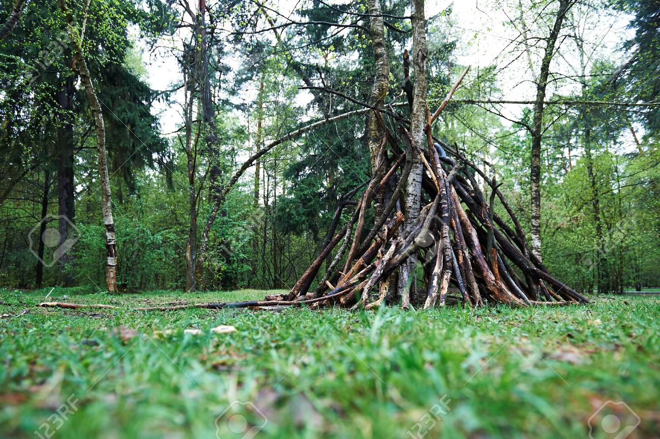 Preživljavanje u prirodi - Page 4 84131357-a-hut-of-twigs-in-the-forest-nature-survival-the-laws-of-life