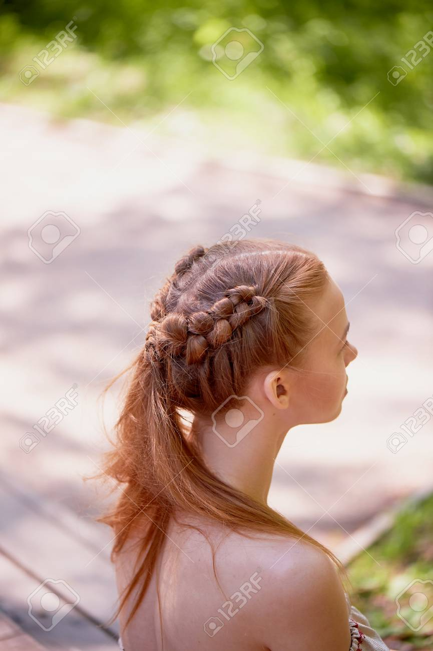 Wedding Hairstyles For Thick Red Hair Hair Close Stock Photo