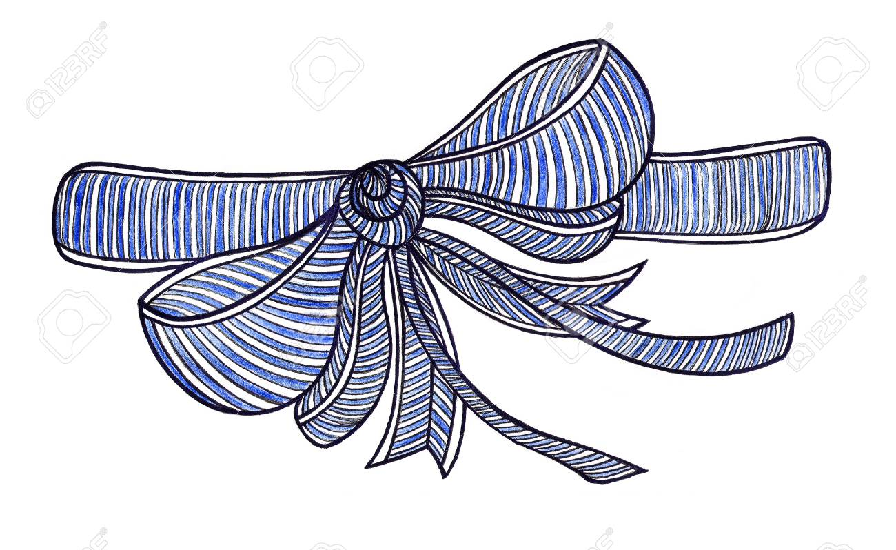 graphic bow drawing color pencils blue stock photo picture and