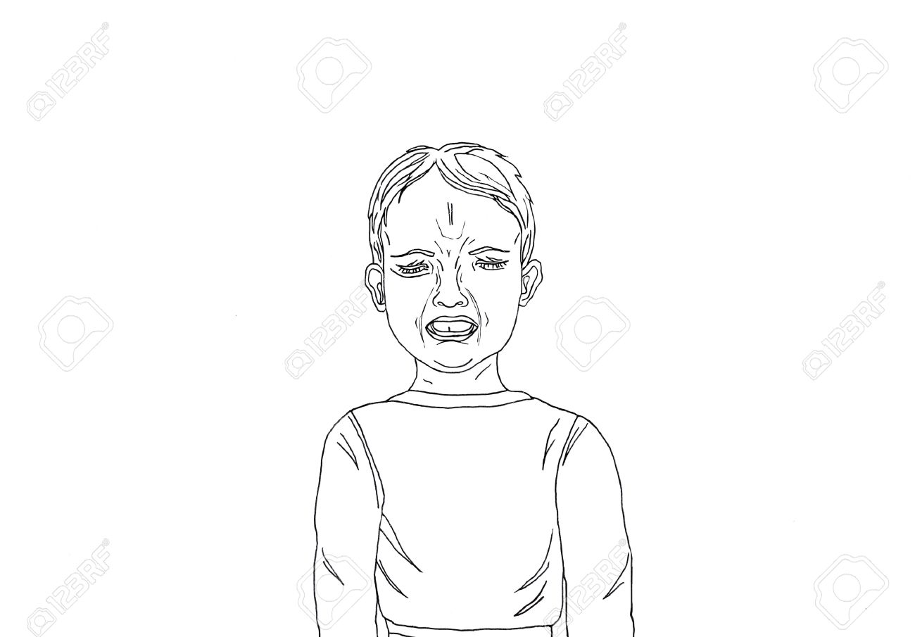 Stock photo unhappy little boy screaming and crying with otkrtym mouth portrait of a child drawn in black ink on a white background