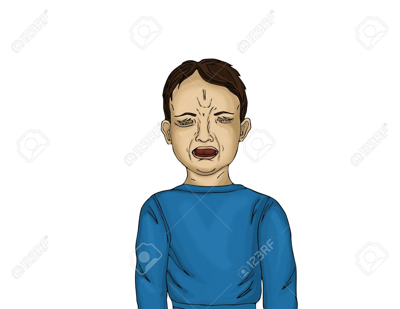unhappy little boy screaming and crying with otkrtym mouth portrait