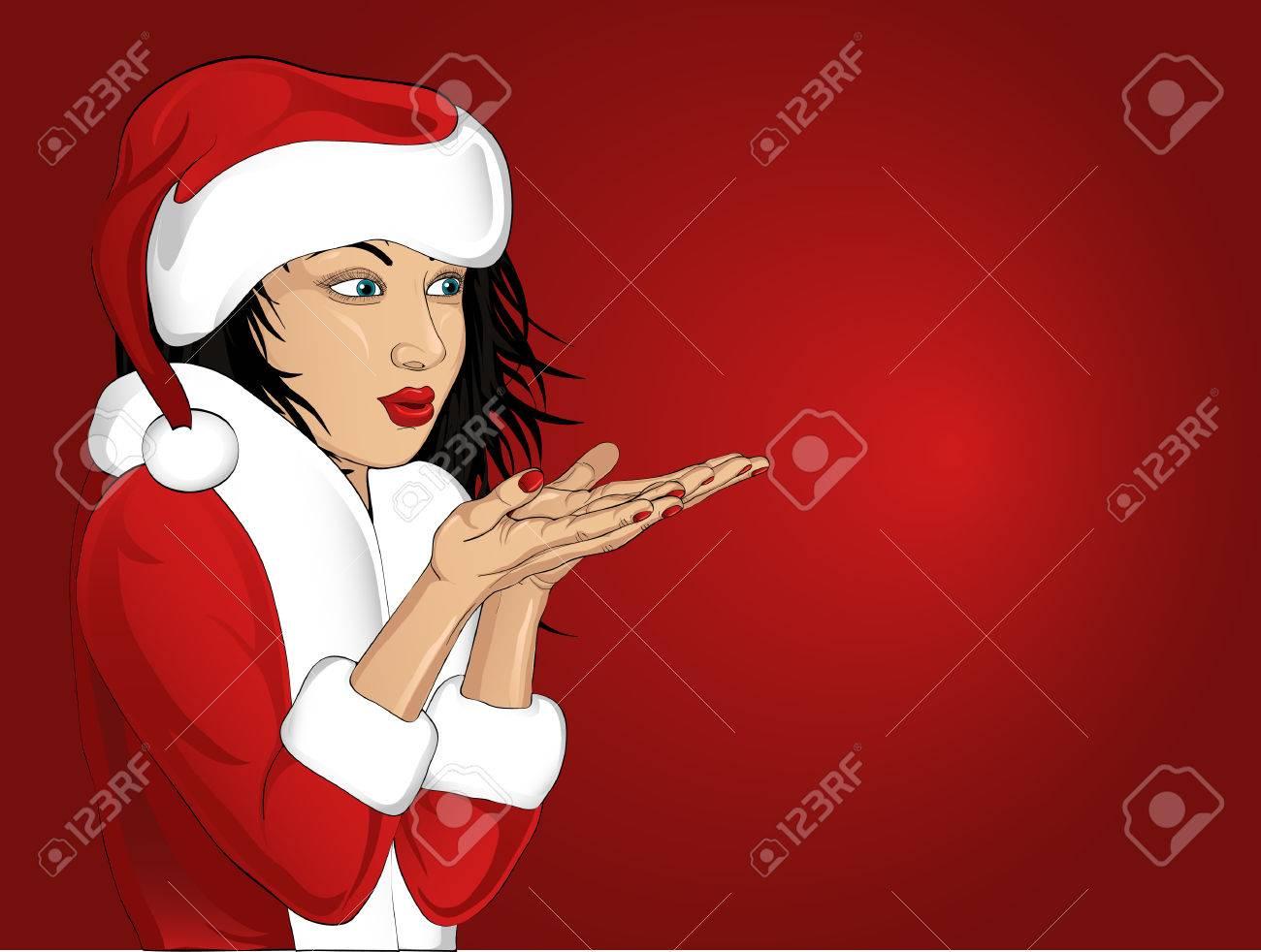 Foto de archivo - Hermosa mujer en ropa de Santa Claus que sopla hacia  fuera de sus manos. El espacio vacío de la publicidad. Tarjeta de Navidad  sobre fondo ... b83c1b25133