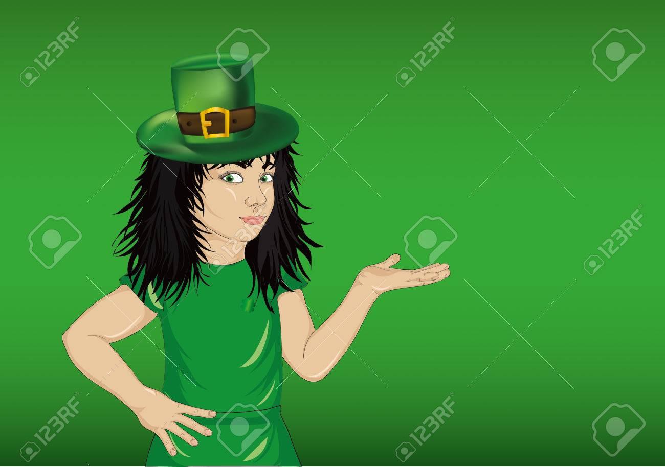 Niña En El Traje Nacional Para El Día De St Patrick, Ofreciendo Un ...