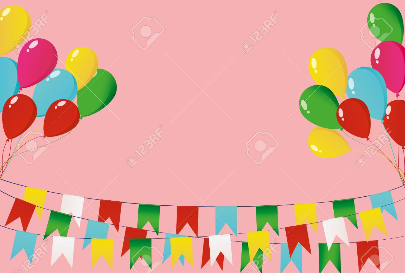 Colorful oatmeal on a rope with balloons garland of flags greeting colorful oatmeal on a rope with balloons garland of flags greeting card or birthday stopboris Choice Image
