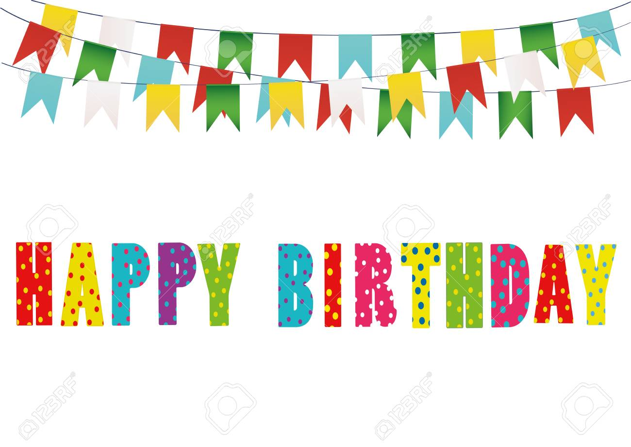 Colorful Happy Birthday Candles Rainbow Garland Of Flags Letters And Balloons Greeting Card