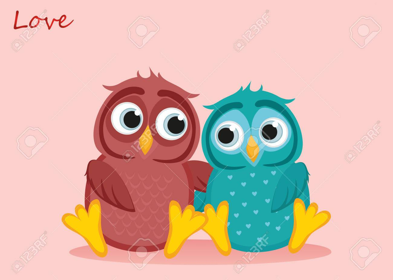 A pair of cute owls in love vector greeting card or invitation a pair of cute owls in love vector greeting card or invitation for st stopboris Choice Image