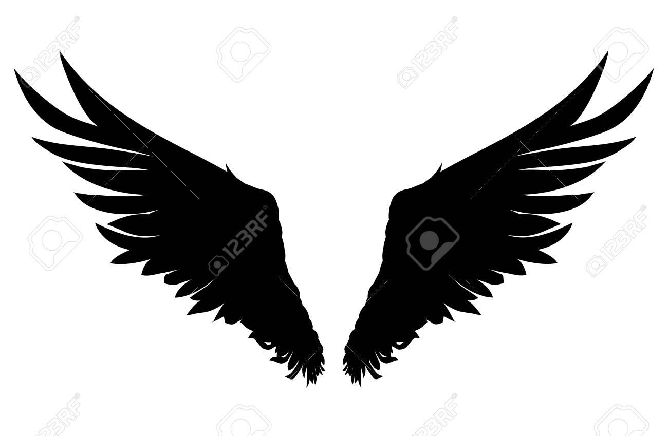 翼白の背景にベクトル イラスト黒と白のスタイルのイラスト素材