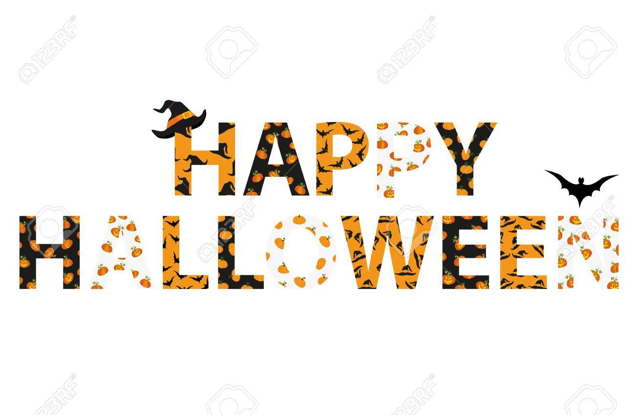happy halloween lettering vector words for invitations to a