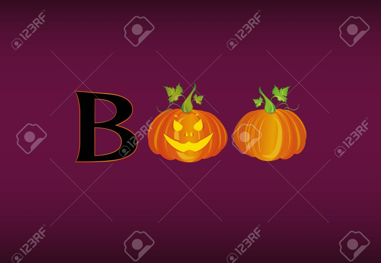 halloween message boo from pumpkins royalty free cliparts vectors
