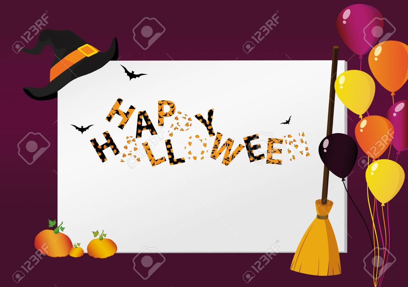 Grußkarte Für Halloween Kreativer Rahmen Mit Einem Kürbisbesen