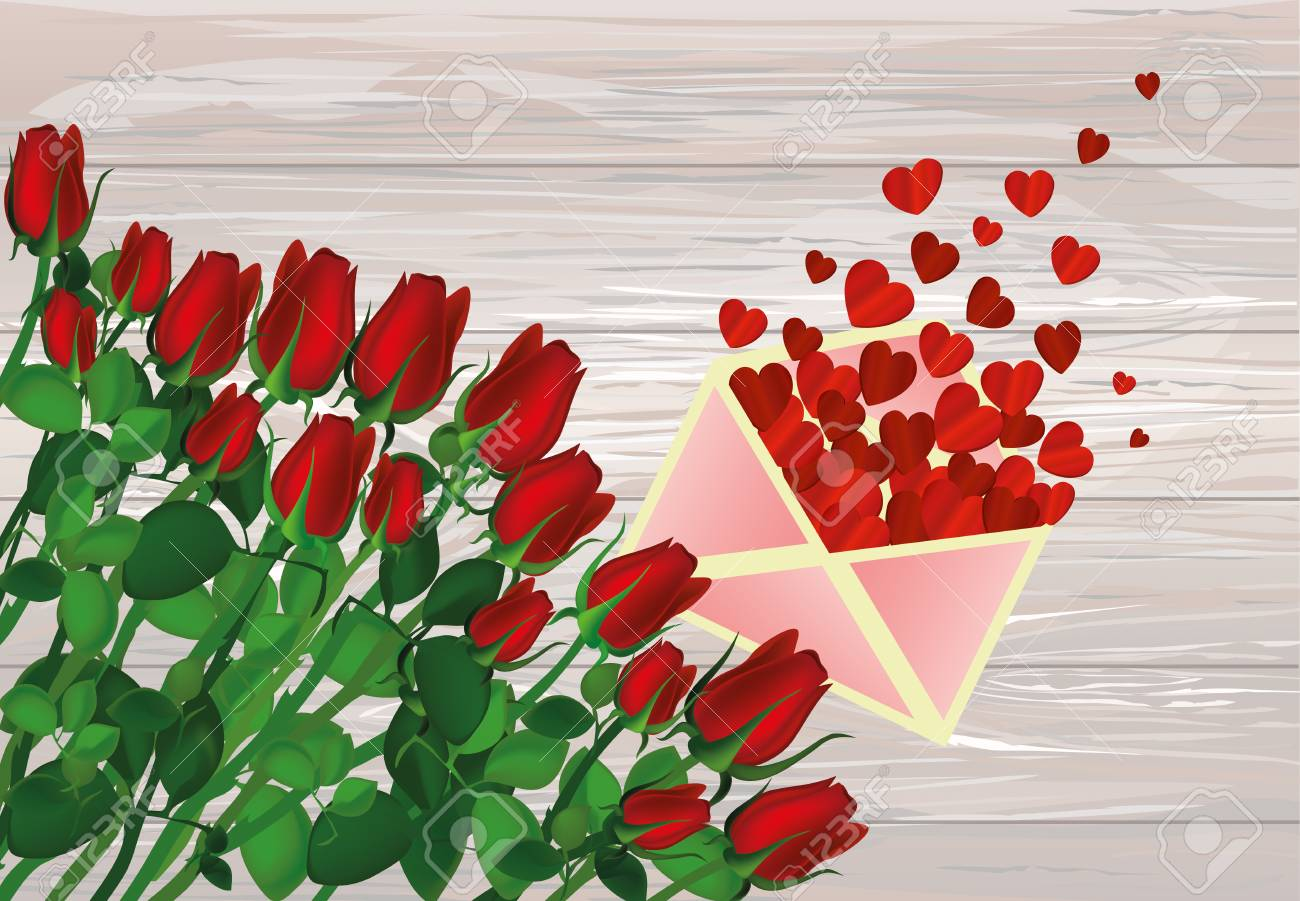 Beautiful Red Flowers Roses With Open Envelope With Departing