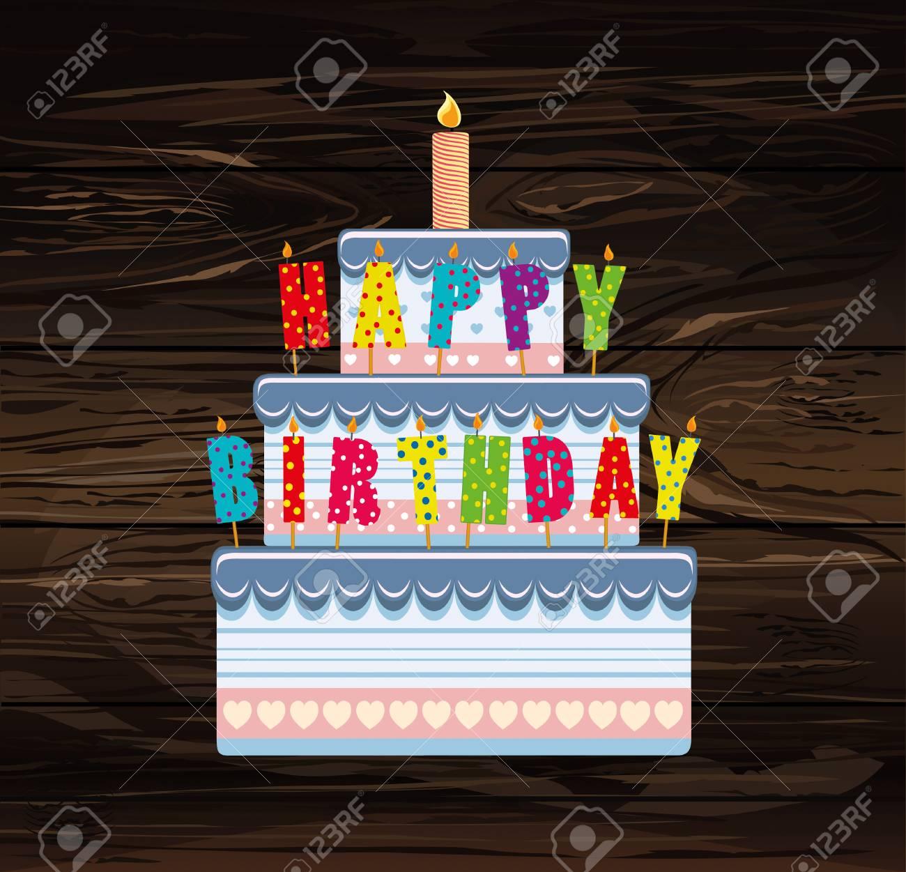 Festive Big Cake Letters Happy Birthday Greeting Card Or Invitation