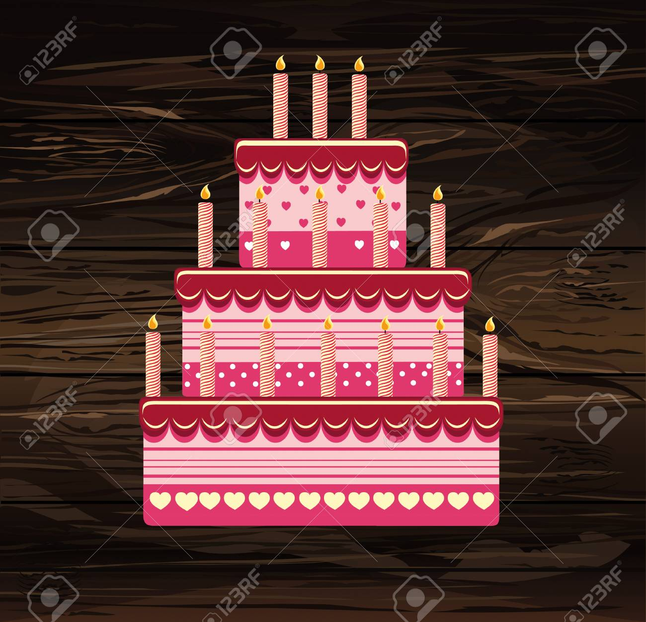 Festive Big Cake Happy Birthday Greeting Card Or Invitation For A Holiday Vector