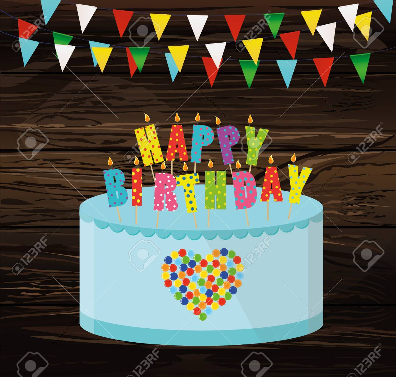 Festive Colorful Rgarland Of Flags And A Big Cake With Candles Happy Birthday Greeting
