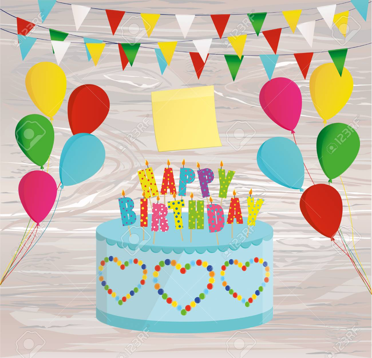 Festive Colorful Rainbow And A Big Cake With Candles Happy Birthday Empty Yellow Sheet