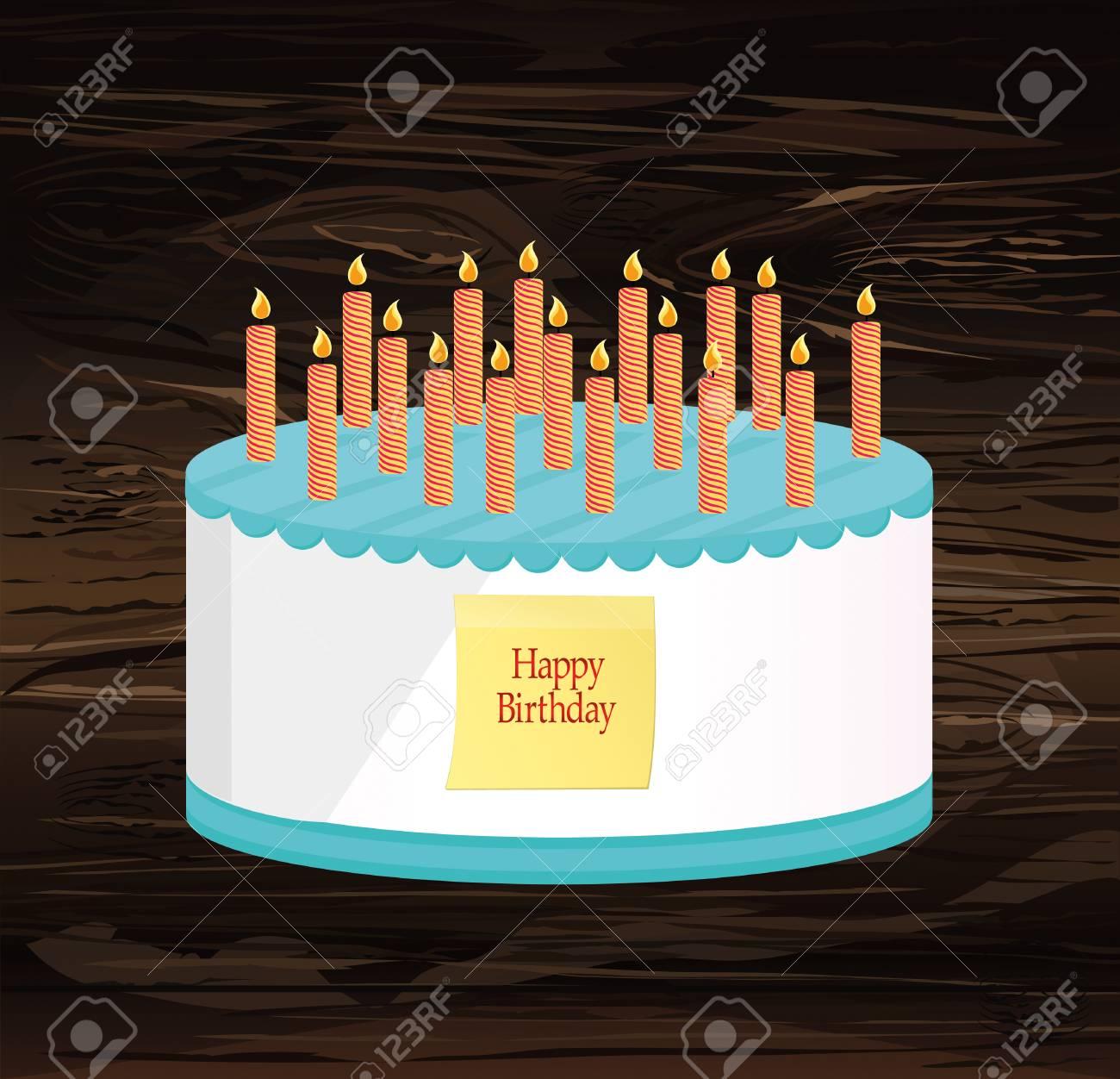 Festive Big Cake Happy Birthday Greeting Card Or Invitation For A Holiday Empty