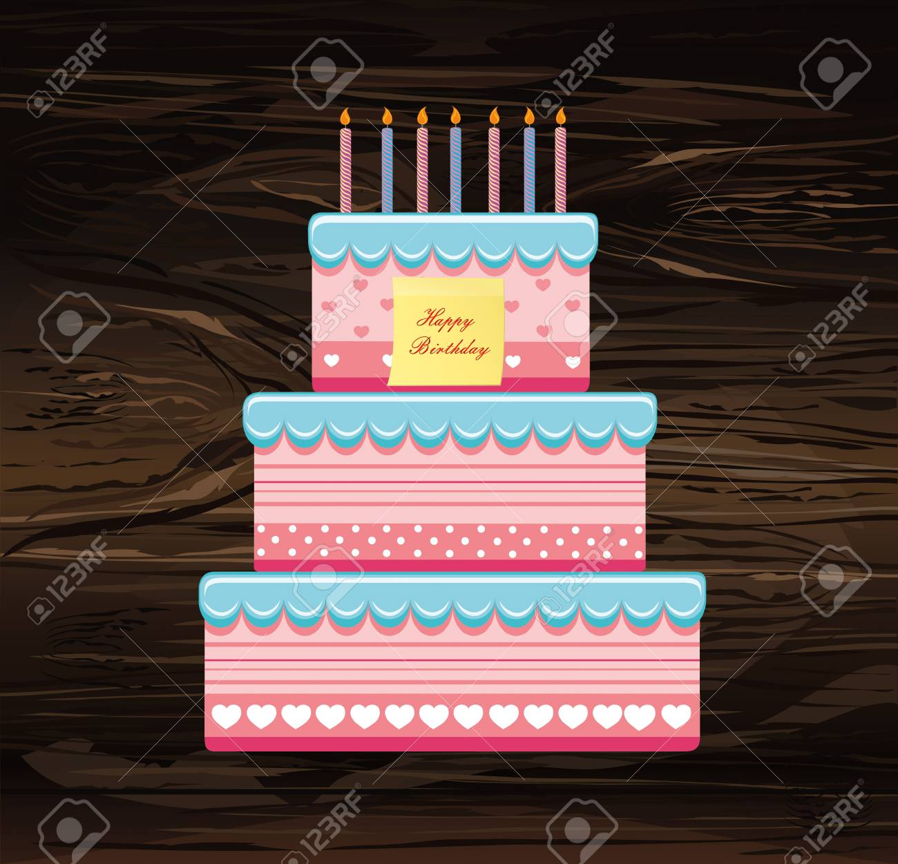 Festive Big Cake Happy Birthday Empty Yellow Sheet Of Paper For Notes Sticker