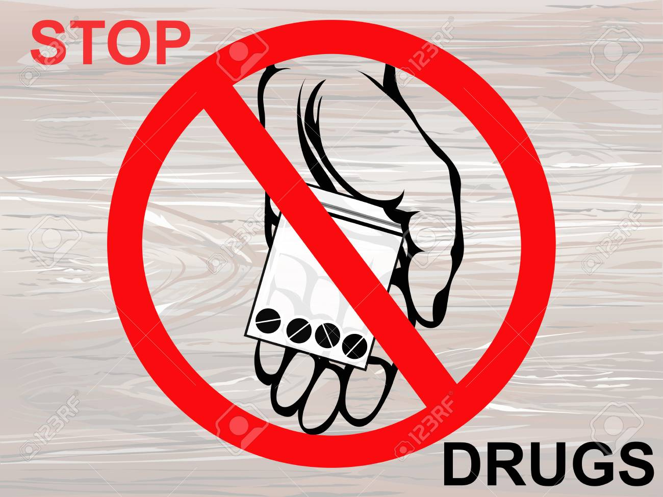 Concept without drugs. Decline the tablets. The hand gives drugs. Vector on wooden background. Prohibition sign. Poster. - 104649284