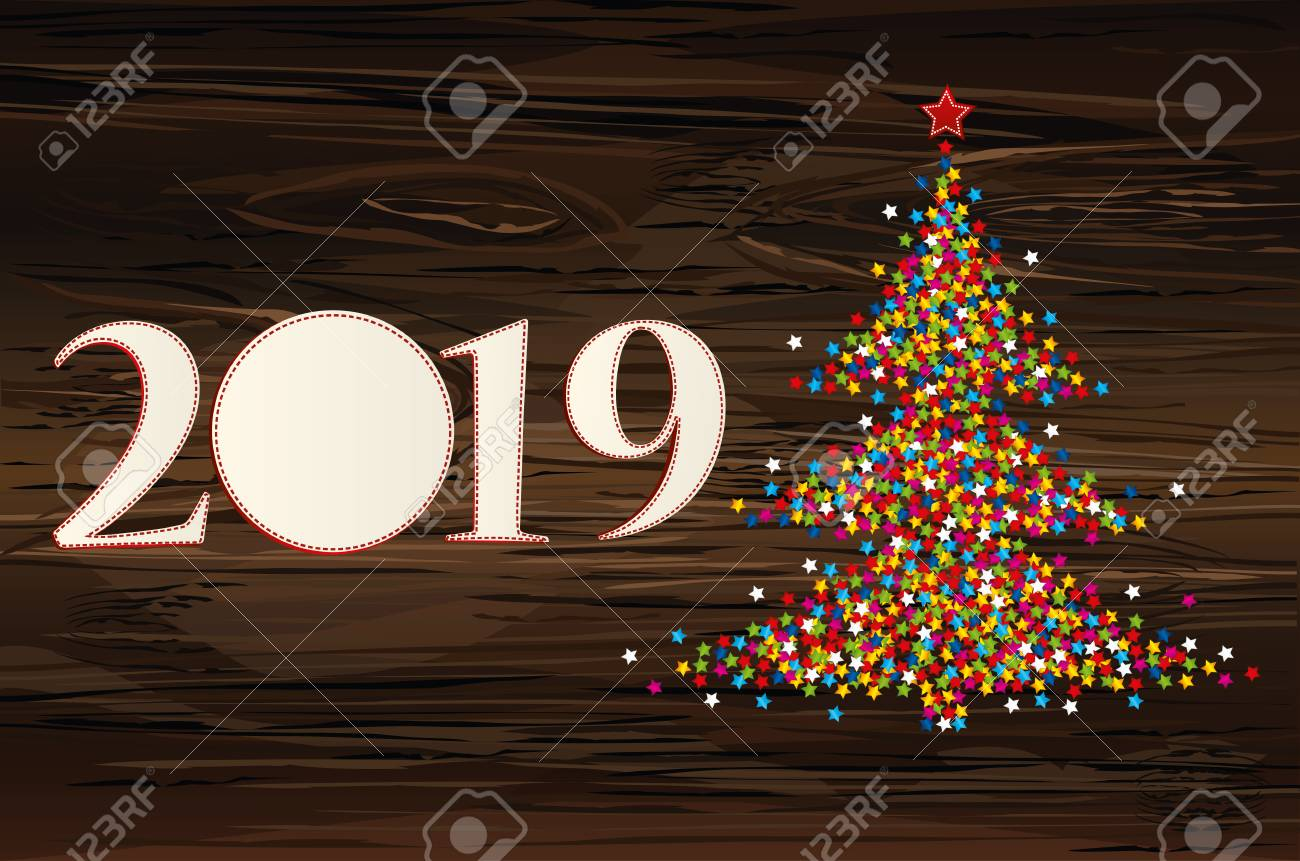 christmas tree of confetti with figures 2019 of paper new year rh 123rf com