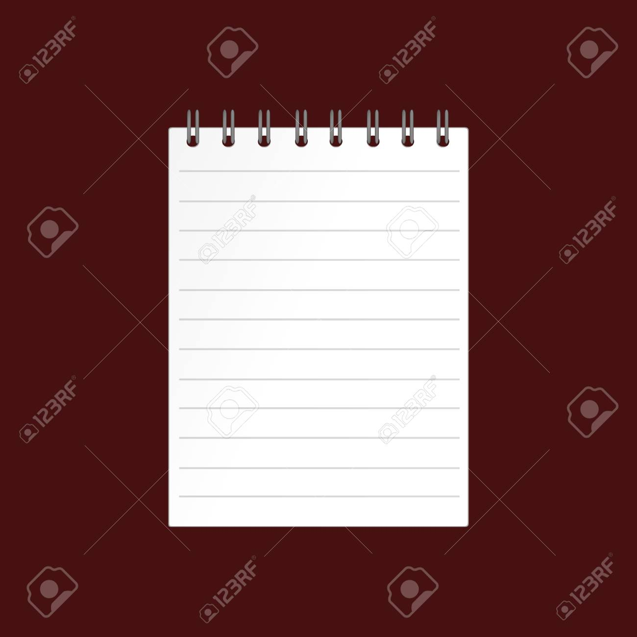 Template With Spiral Notebook On Brown Background Vector Diary For Business The Design