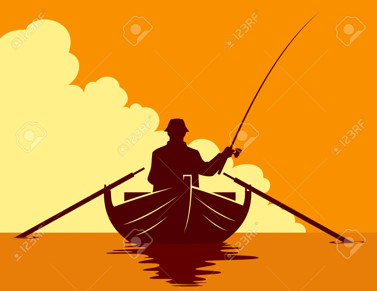 Fisherman In A Boat Silhouette On Sunset Background Vector Illustration Royalty Free Cliparts Vectors And Stock Illustration Image 103597304